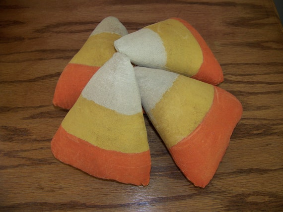 Set of 4 Primitive Fall Grungy Candy Corn Bowl Fillers/Tucks for Fall and Halloween