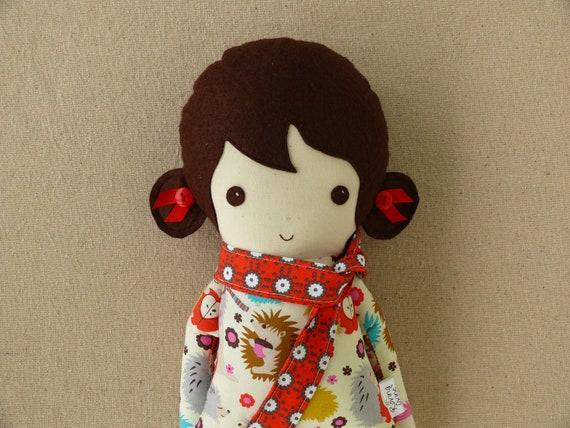 Fabric Doll Rag Doll with Hedgehog Print Dress