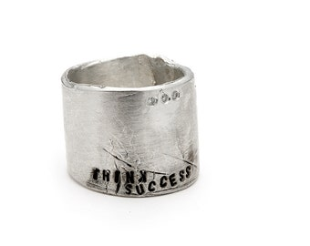 "Handmade Ring - Women's & Men's Sterling Silver Ring Inscribed ""Think Success""  - Handmade Silver Rings - Unique Handmade Silver Jewelry"