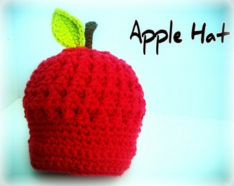 Baby Hat, Crochet Apple Hat, Baby Apple Hat, Red Apple Hat, Newborn, Photo Prop, Fall, Autumn