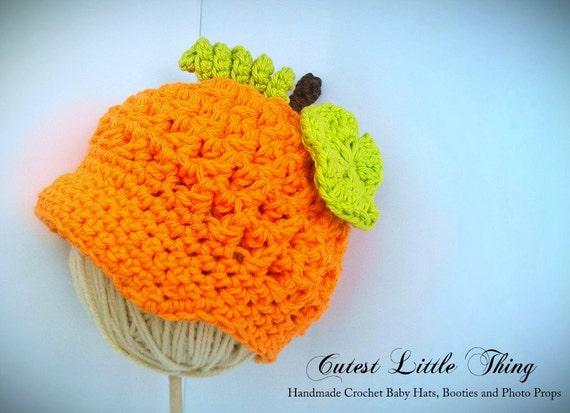 Baby Pumpkin Hat, Crochet Pumpkin Hat, Crochet Baby Hat, Newsboy Hat, Fall, Autumn, Halloween, Newborn Photo Prop