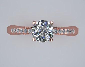 Half Carat Daimond Solitare Half Eternity Engagement Ring 14K Rose Gold