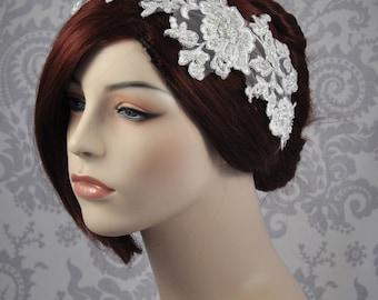 Bridal Headpiece, Bridal Hair Accessory, Bridal Cap, Bridal Headband, Lace Hair Accessory, Off White Lace Headband, white, Ivory - 108HB