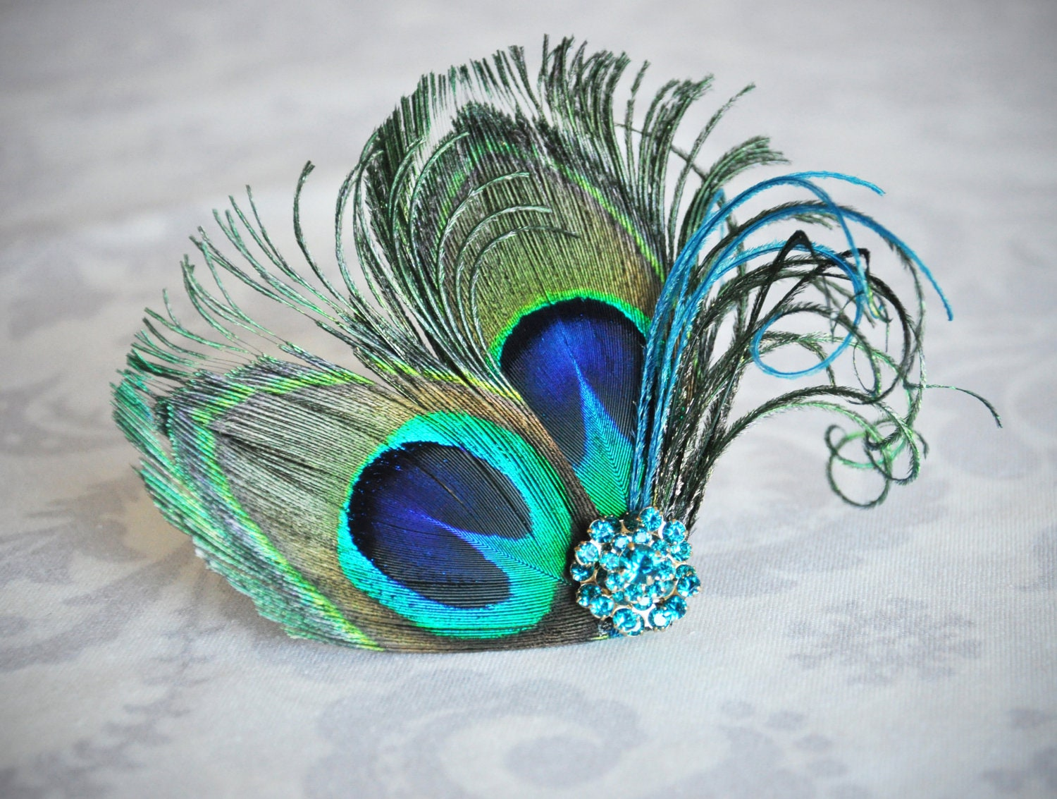Peacock Feather Fascinator Blue Green Turquoise Hair