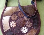 Brown and White Hippie Boho Cowhide Crochet Shoulder Bag