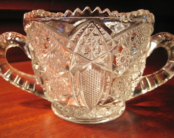 Vintage PRESSED GLASS SUGAR Bowl - Double Handled