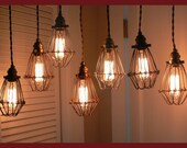 Wire Cage Shoplights- Awesome COLORS - Awesome PRICE- Very Industrial Looking - Now available in Raw steel