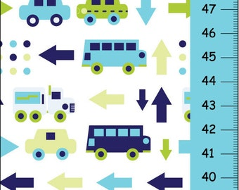 Transportation Canvas Growth Chart -Car bus and truck- blue and green