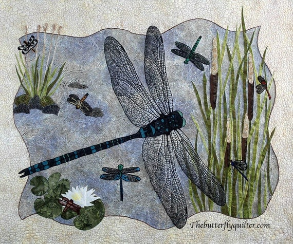 Textile Quilted Wall Hanging Fiber Art Dragonfly Wall Quilt