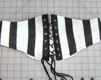 CUSTOM Black & White Striped Waist Cincher