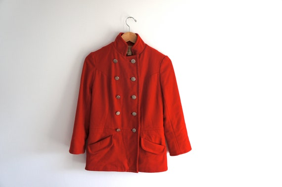 1960s norman todd red peacoat // size small coat with silver buttons