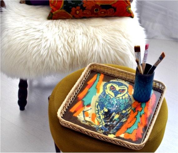 SALE Vintage tray owl bird print West German Screen Printing solar power yellow tangerine 70s entertaining cocktail