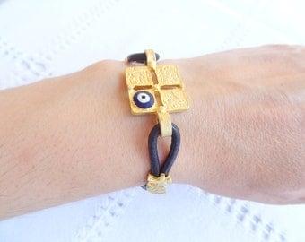 Black Leather Bracelet,  Gold Bracelet, Arabian Style Bracelet, Luck Evil Eye Bead Bracelet