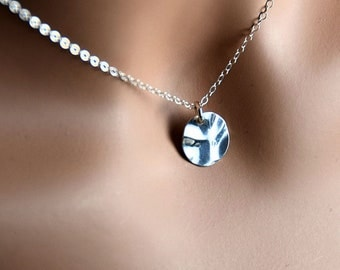 All Sterling Silver Disc Charm Necklace, Dainty Textured Metalwork Jewelry