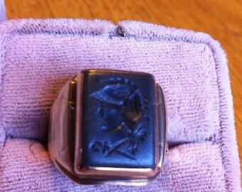 10K Rose Gold Class Ring in Art Deco Intaglio Signet Cameo