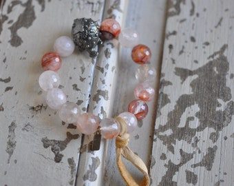 Blowfish stretch bracelet, cloudy pink quartz and blowfish bead