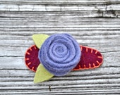 Felt Rose Hair Barrettes - Maroon, Purple, Green - Custom colors available