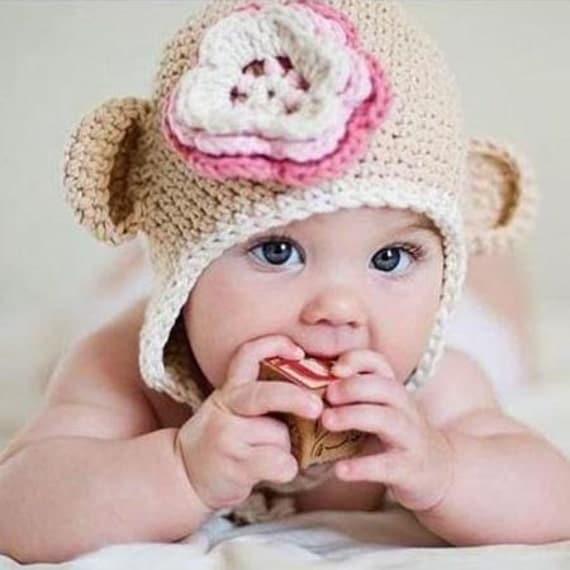 Baby Girl Bear Hat- Crocheted Handmade