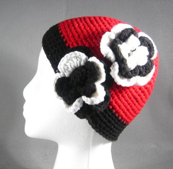 Crocheted Hat with Flower-Crochet Hat for Girls-Flower Hat-Red Hat-Handmade