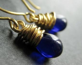 Teardrop Earrings - Cobalt Blue and Gold Wire Wrapped Earrings. Handmade Jewelry.