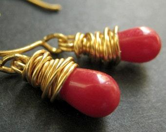14K GOLD Earrings - Red Coral Earrings. Red Teardrop Earrings. Wire Wrapped Earrings. Handmade Jewelry.