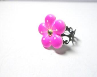 Pink  Flower  Ring  Vintage Style-sale