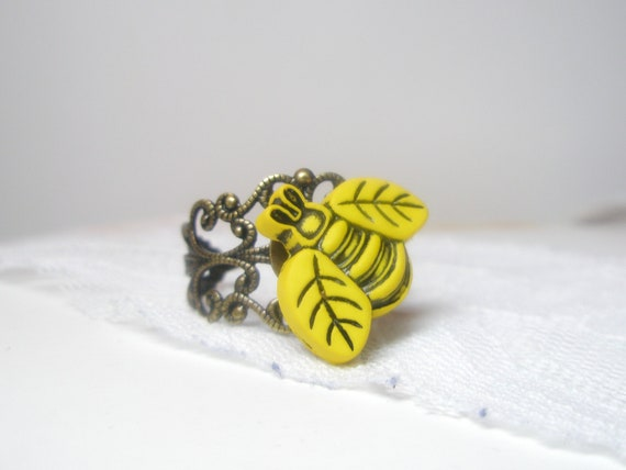 items similar to busy bee ring yellow ring bee jewelry