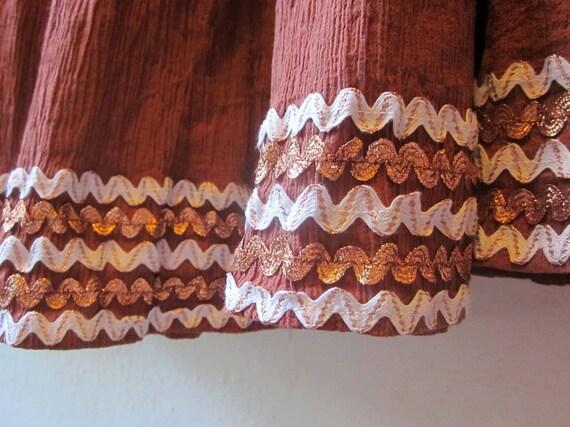 III Beautiful 1950s Plus Size Copper Rick Rack Patio Dress III