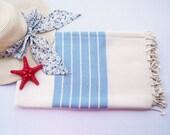 Turkish Bath Towel(Peshtemal) Diagonal Design-Type2 :Deep sky blue