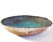 Medium Ceramic Turquoise Salad Bowl, Ocean Treasure, Glass Lake, Made to Order