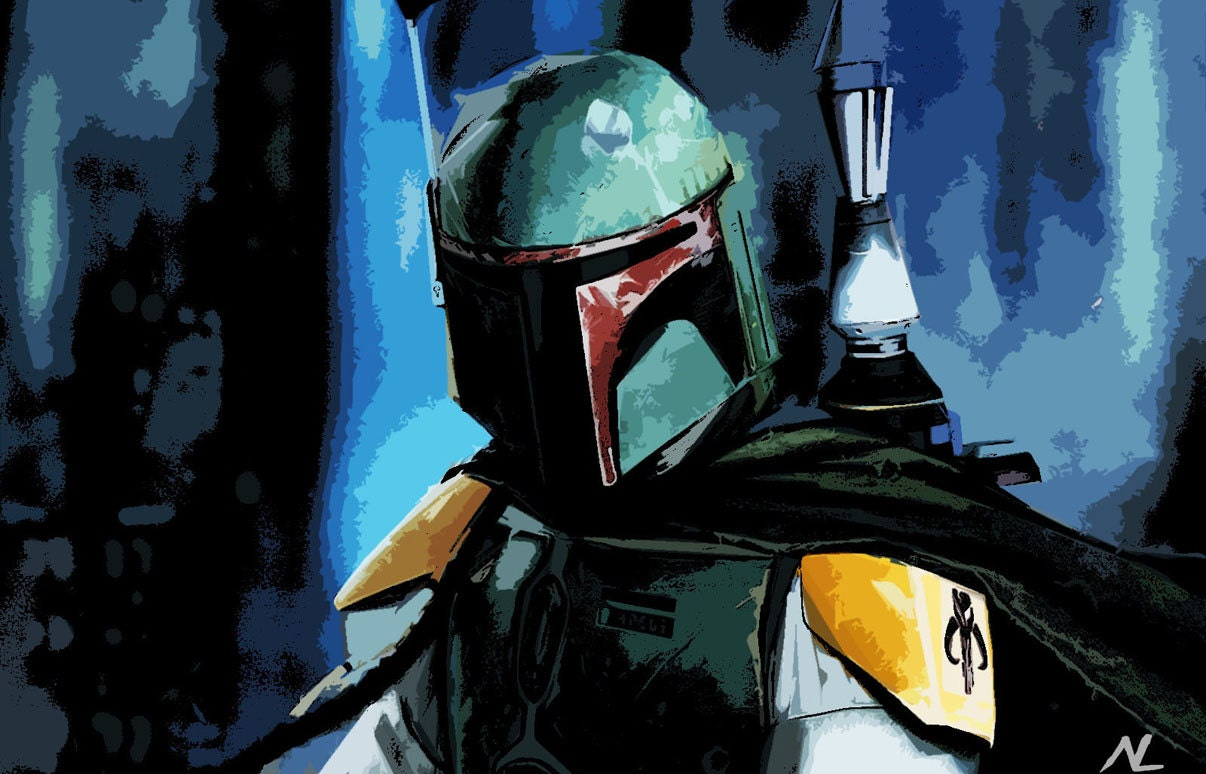 items similar to star wars boba fett mandalorian bounty hunter pop art poster print size 11 x 17. Black Bedroom Furniture Sets. Home Design Ideas