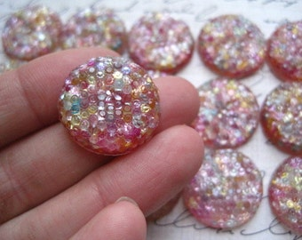 Resin Cabochon Round Shimmer Cabochons 4 pcs Flat Back Resins 20mm