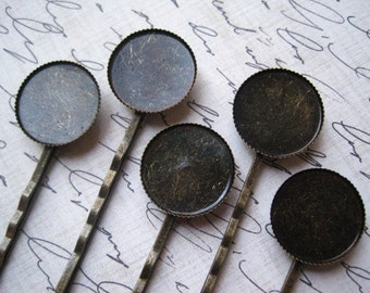 Bobby Pin Blanks / 8 pcs Antique Bronze Bobby Pin with Pendant Tray / 18mm Inner Dimension