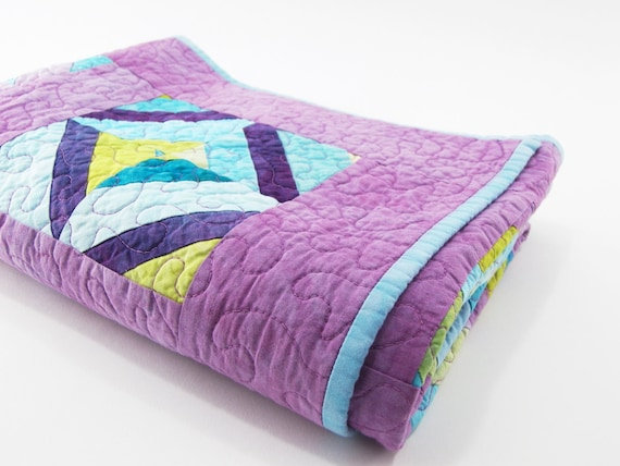 Baby Quilt, Quilted Crib or Cot Blanket - Strip Pieced Quilt in Hand Dyed Lilac Purple, Aqua, and Lime and Chartreuse