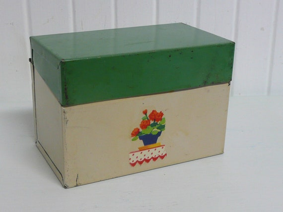 1930s Metal Recipe File Box Jadite Green and Antique White with Vintage Decal - Shabby Chic Style