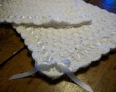 Baby Blanket Hand Crocheted White Yarn With White Ribbon Border 34 Inches Square  READY TO SHIP