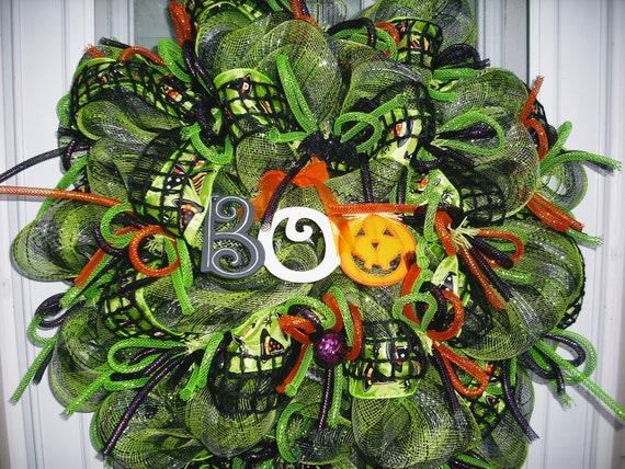 Lime & Black Halloween  Deco Mesh Wreath