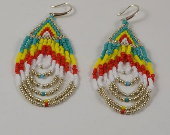 Colorful seed beads earings, summer jewelry, handmade earings, red, turquoise, yellow, summer trend