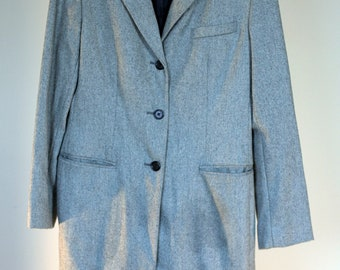 vintage ralph lauren ladies tailored dress coat black white tweed leather collar size 8
