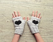 fingerless mittens with heart - grey and black glitter