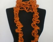 On Sale. Halloween ORANGE scarf. Everyday scarf. Crochet long Scarf. Hand made. For her. Autumn ruffle scarf.