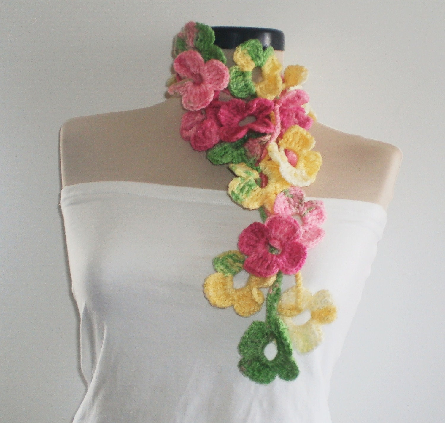 ON SALE Colorful Scarf Crochet Scarf Long Scarf Crochet belt  Crochet Scarf For Sale