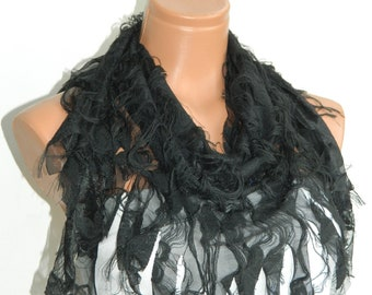 Black Fringed Womens Scarves, Shabby chic, worn out appearance, Scarf,Cowl,Shawl,Wrap,Bandana,Headband,Beach Pareo