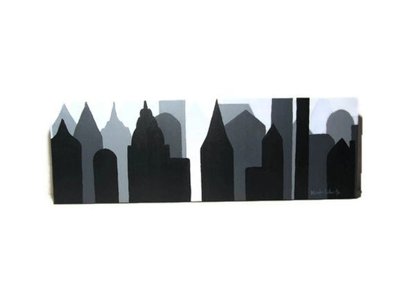 Reserved Listing for Alora C. New York City skyline cityscape painting on canvas silhouette architecture buildings city panoramic art deco