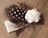 baby girl hair clip, Photo prop - feathers and white rose