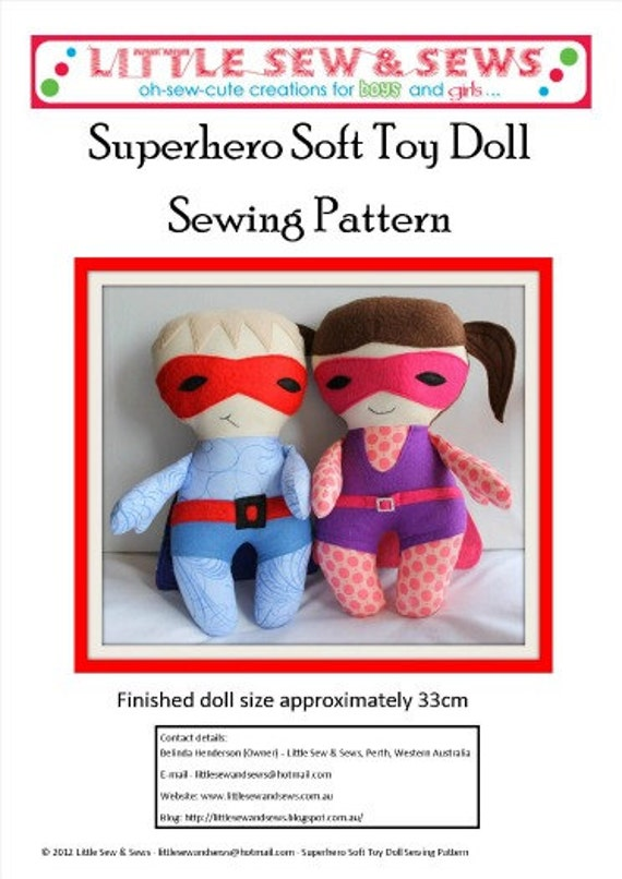 PDF Sewing Pattern Superhero Soft Toy Doll - includes photo tutorial - electronic file