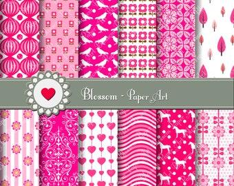Hot Pink Digital Paper, Digital Paper Scrapbooking Pack, Hot Pink Hearts Birds Flowers Horses - Digital Paper - 1391