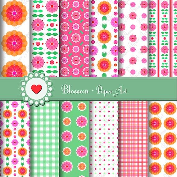 Papeles digitales para imprimir flores manualidades - Papel decorado para manualidades ...