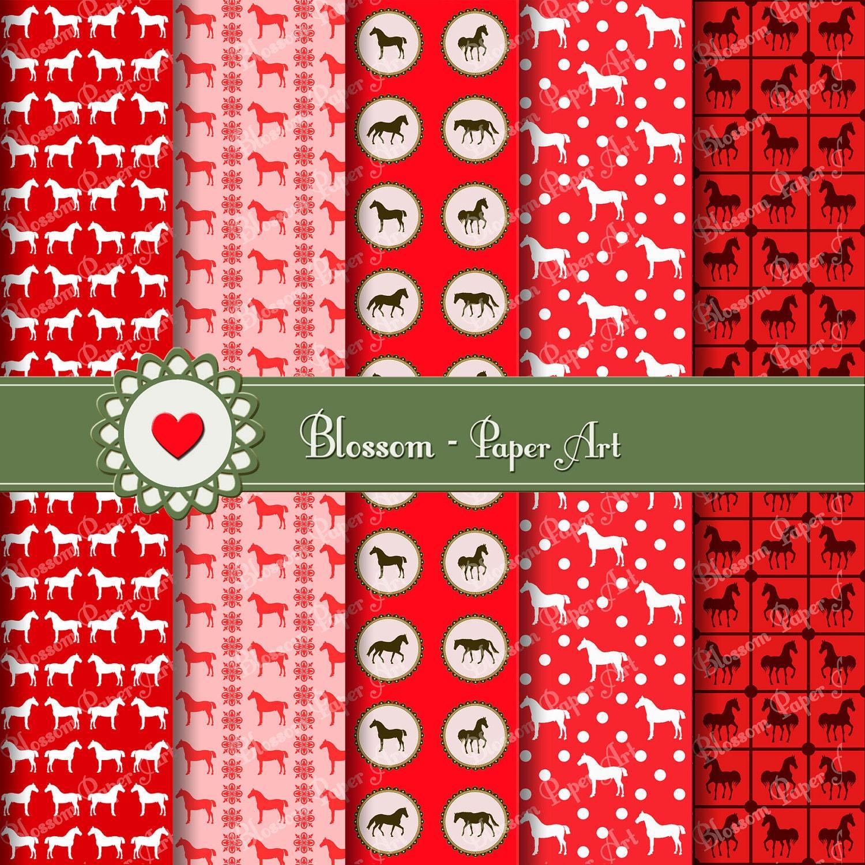 Papeles Digitales Caballos Rojos Papeles Decorativos para