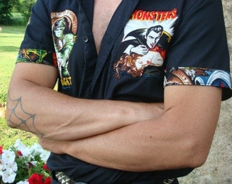 Work shirt leopard zebra rockabilly psychobilly tattoo contigo skull zombie monster goth pin up rétro cherry polka dot